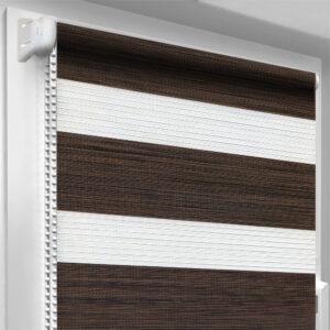 Рулонные шторы зебра-wood Махагон