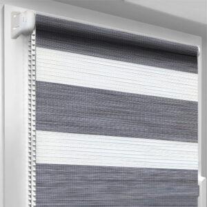 Рулонные шторы зебра-wood Рустик серый