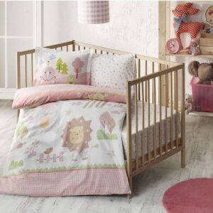 Комплект постільної білизни в ліжечко TAC Happy Zoo Pink Ранфорс