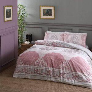 Постельное белье комплект (евро) TAC – Aryan Pink  Ранфорс