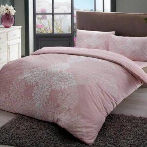 Постельное белье комплект (евро) TAC Janna Pink Ранфорс