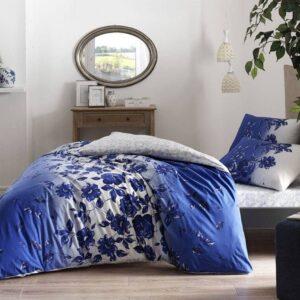 Постельное белье комплект (евро)TAC Lizzy Blue Ранфорс