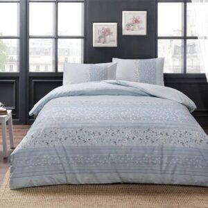 Постельное белье двуспальный евро комплект TAC Leona Blue Ранфорс