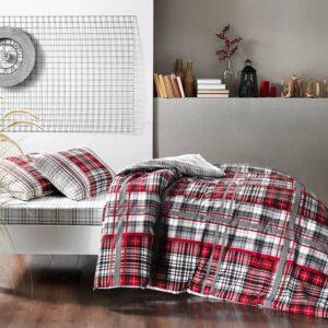 Постельное белье двуспальный евро комплект TAC Blair Red Ранфорс