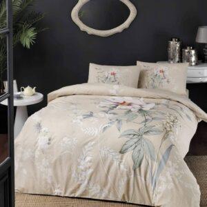 Постельное белье двуспальный евро комплект TAC Frida Cream Ранфорс