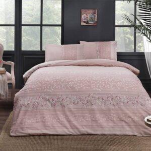 Постельное белье двуспальный евро комплект TAC Leona Pink Ранфорс