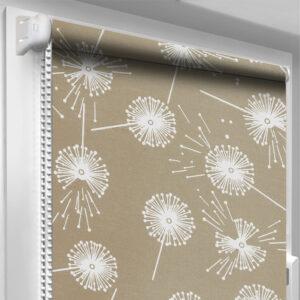 Рулонные шторы с рисунком DecoSharm Цветы 5428/2 Светло-коричневые